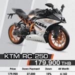 KTM RC 250 ราคา 179,900 บาท 2016  ผ่อน 3,305 บาท/ 48 เดือน