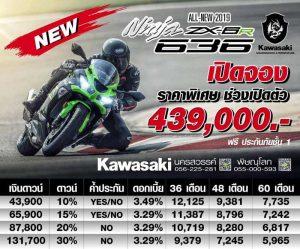 Kawasaki Ninja ZX6R 2019 ราคา ตารางผ่อนดาวน์